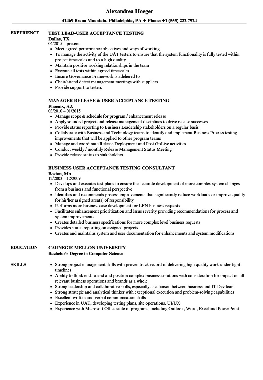 user acceptance testing resume sample