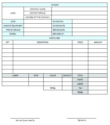 home repair invoice
