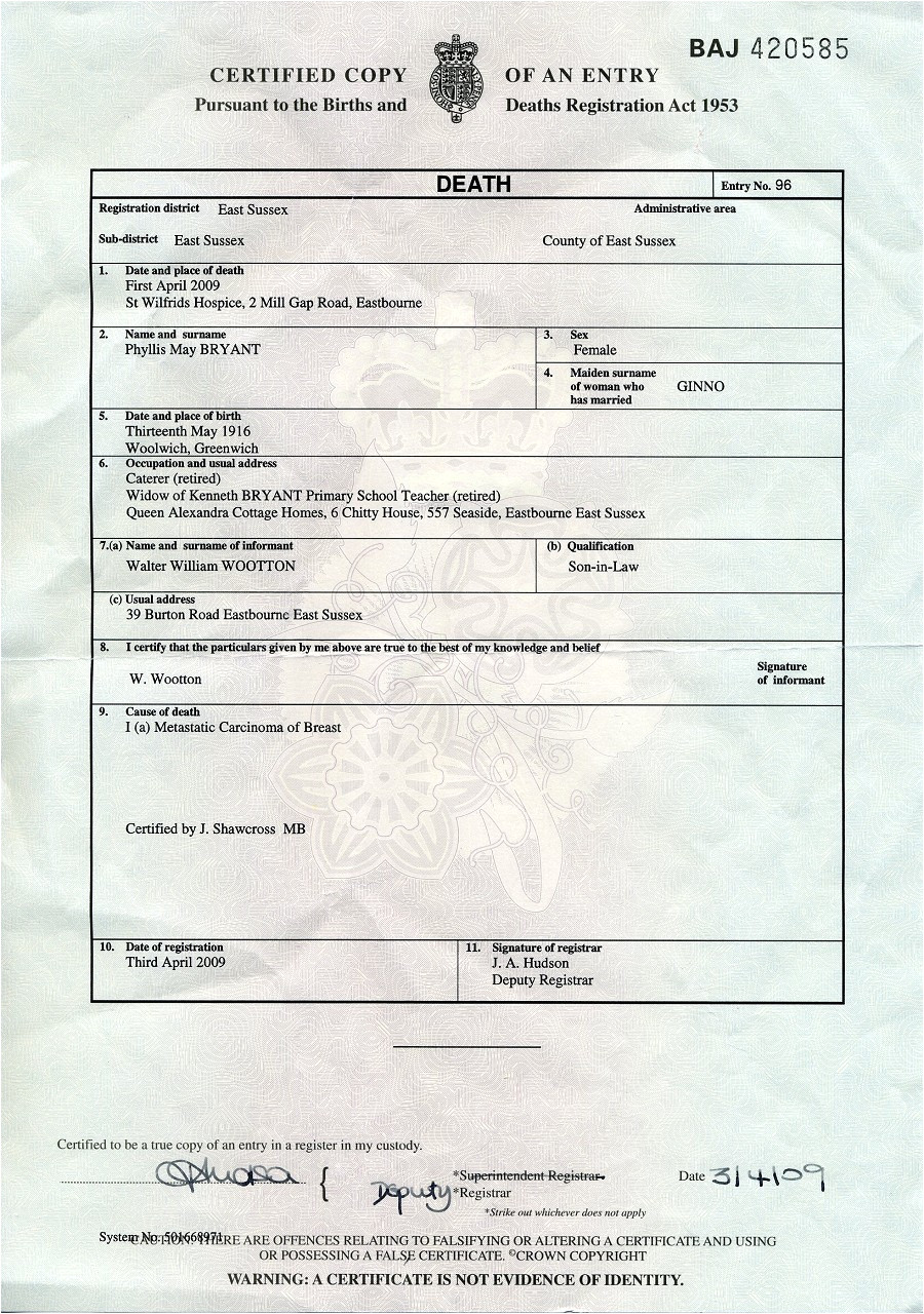 Uk Death Certificate Template Death Certificate Uk Certificates Templates Free