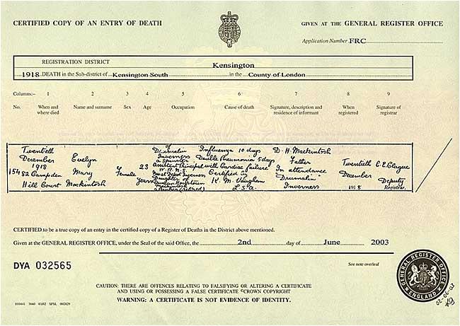 death certificate uk 1735