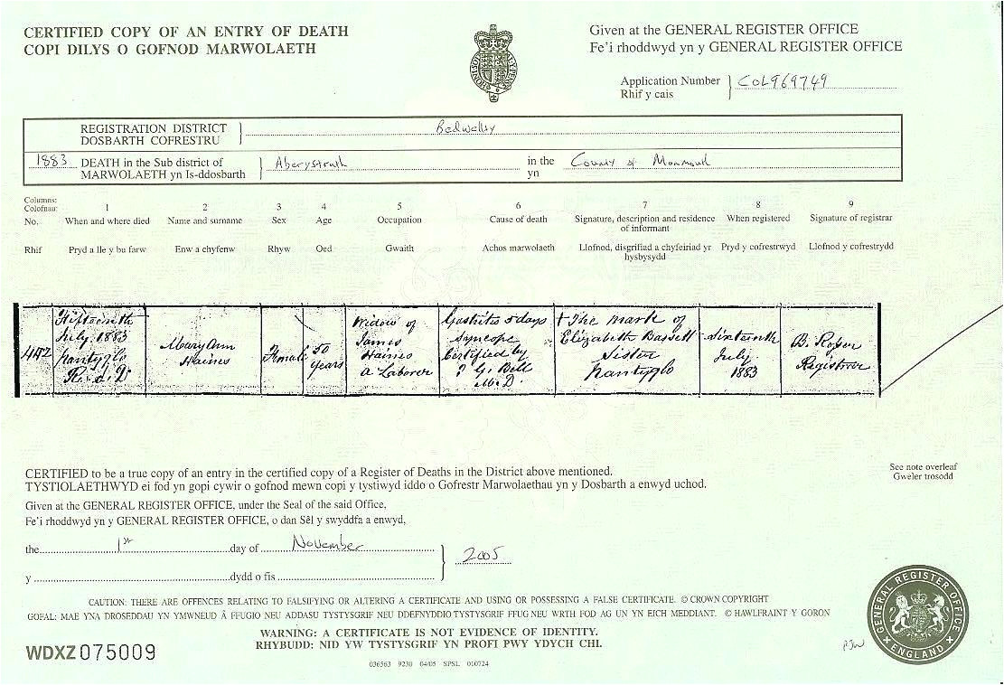 uk death certificate template