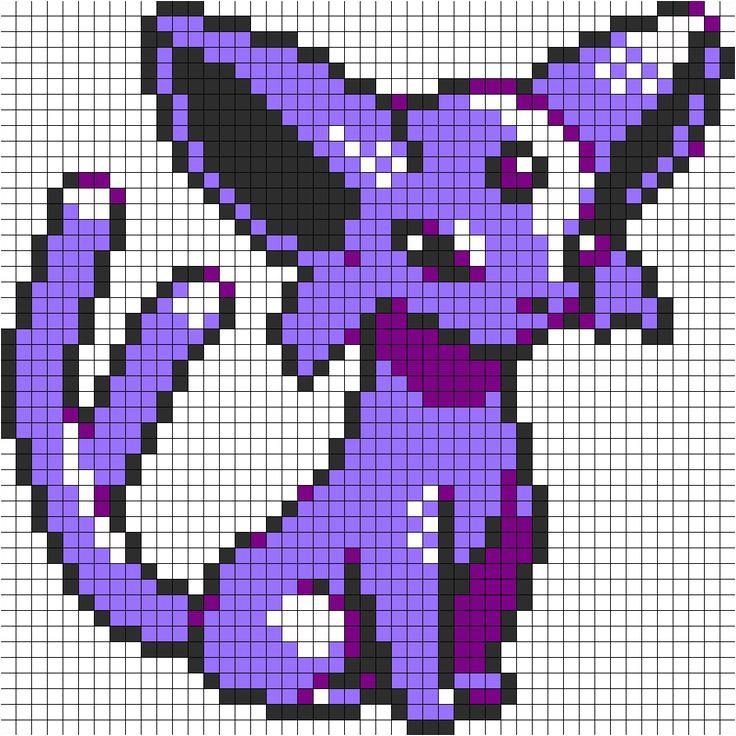 Umbreon Pixel Art Template Espeon Pokemon Sprite Perler Bead Pattern Bead Sprite