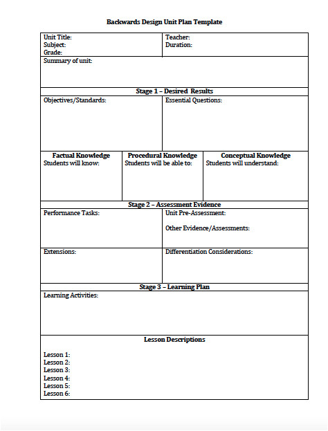 unit plan and lesson plan templates for