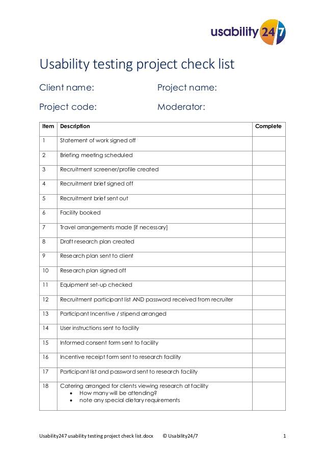 usability testing project checklist usability247