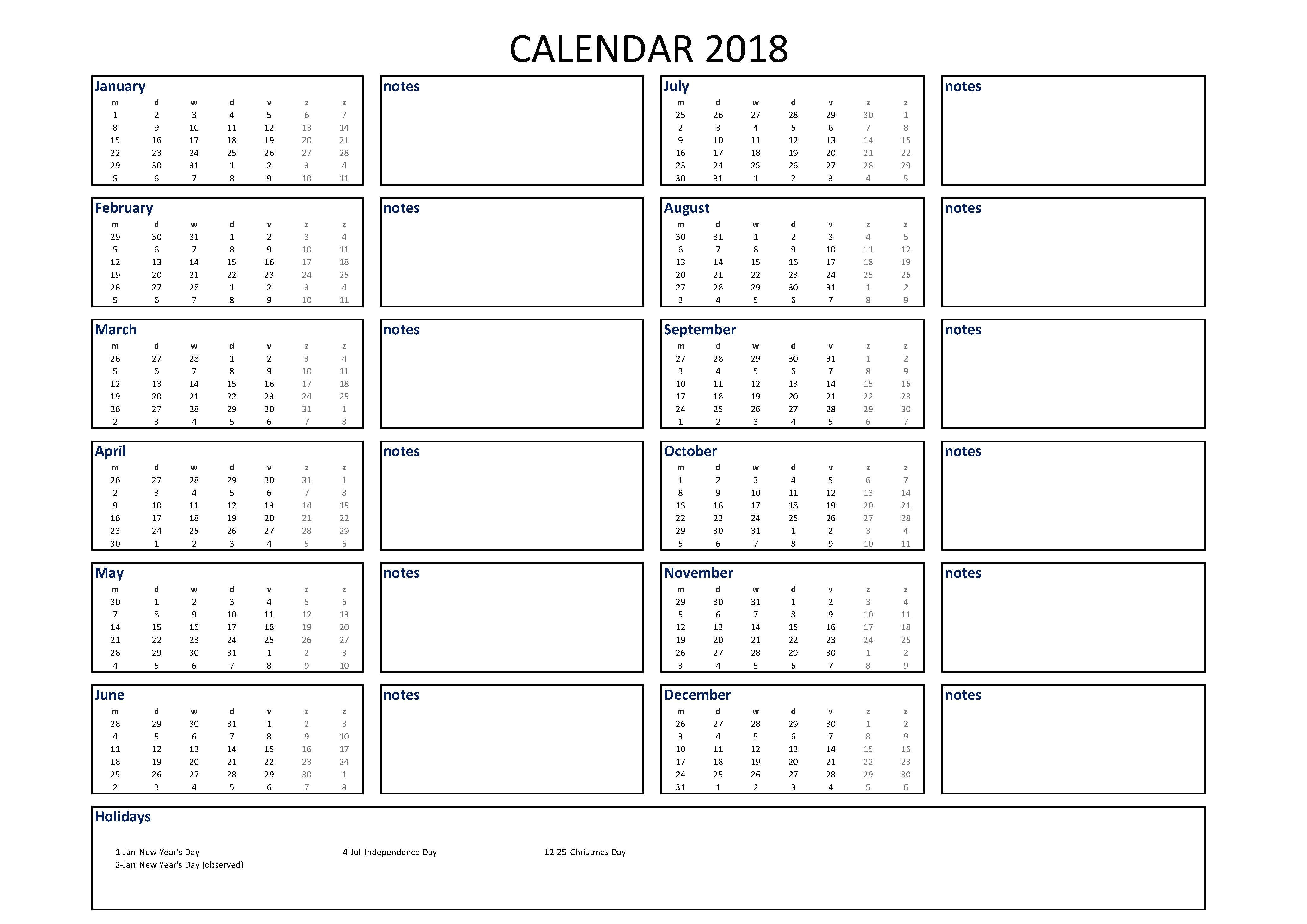 Usable Calendar Template 2018 Calendar Excel A4 Size with Notes Download Our Free