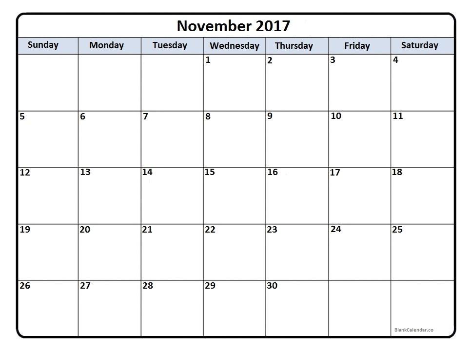 Usable Calendar Template November 2017 Calendar 56 Calendar Templates Of 2017