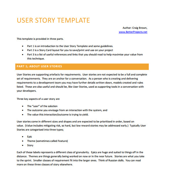 User Story Template Pdf 9 User Story Templates Pdf Excel Sample Templates