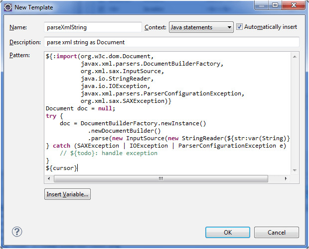 create eclipse templates for faster java coding