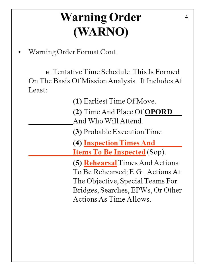 Usmc Warning order Template Combat orders 1 Combat orders Provide Information for the
