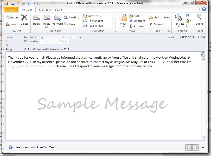 Vacation Email Message Template How to Create Vacation Out Of Office Message Auto Reply