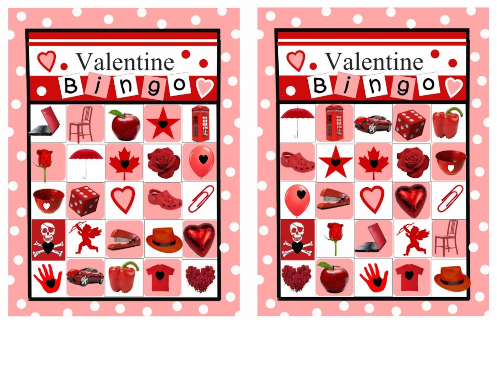 6 new valentines day bingo cards for