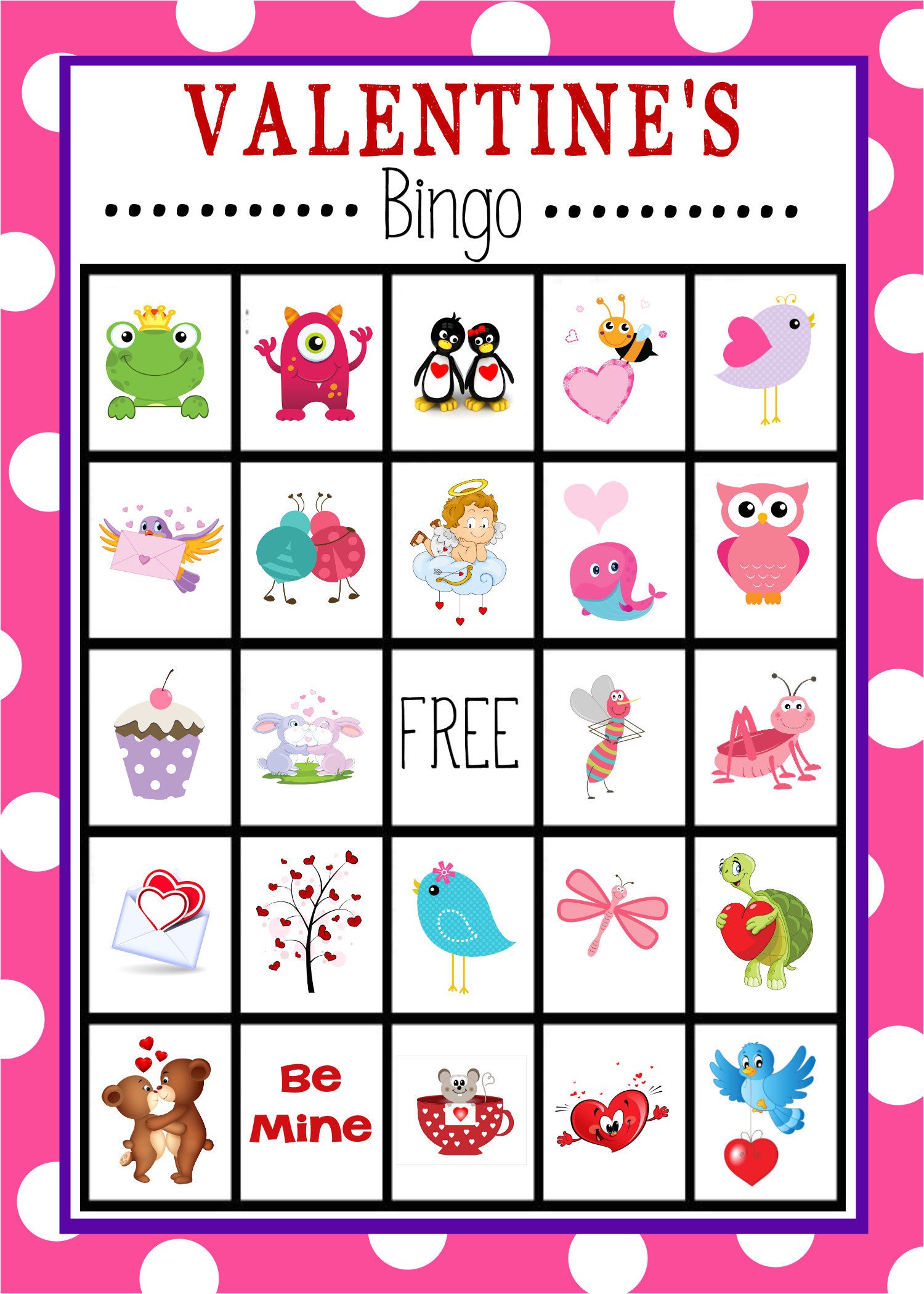 free printable valentines day bingo game