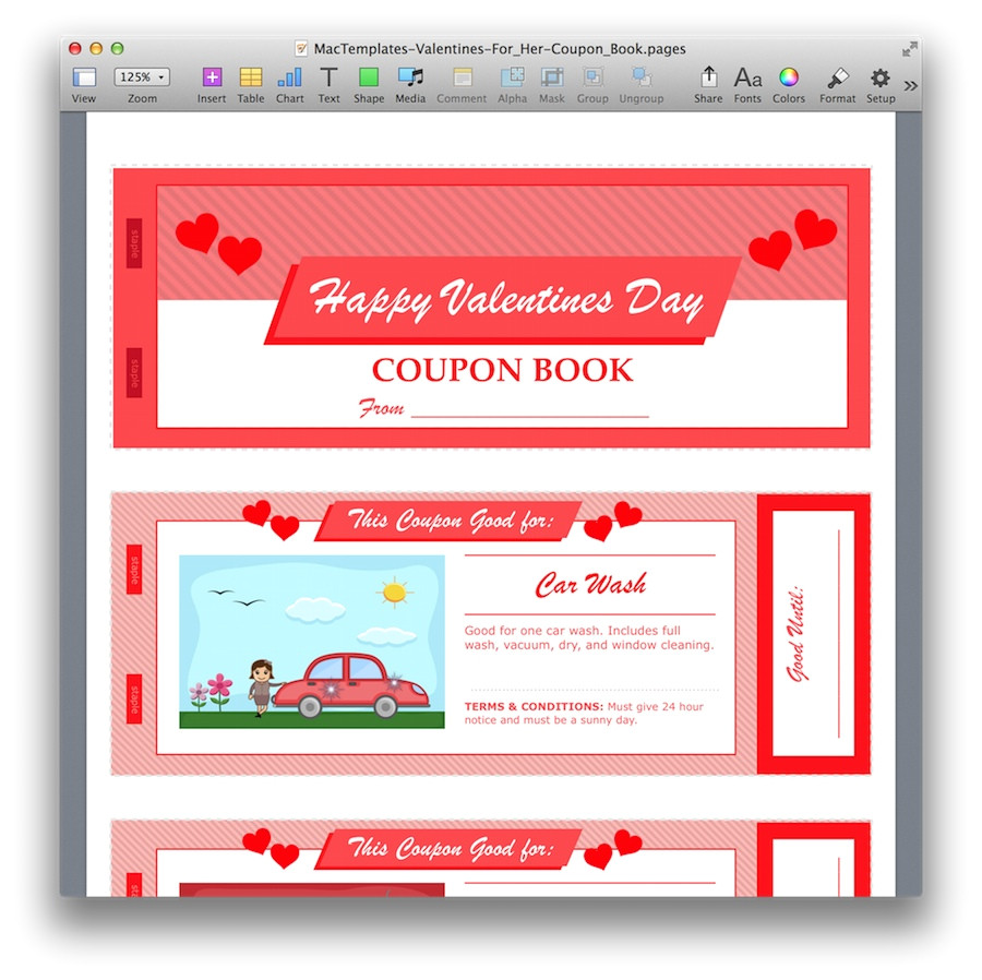 Valentine S Day Coupon Template Valentine 39 S Day Coupon Book for Pages Pdf Mactemplates Com
