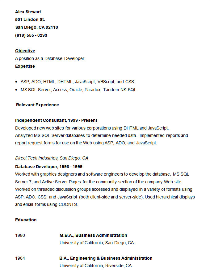 Vba Developer Resume Sample Resume Templates 127 Free Samples Examples format