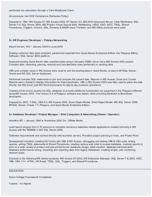 vba developer resume
