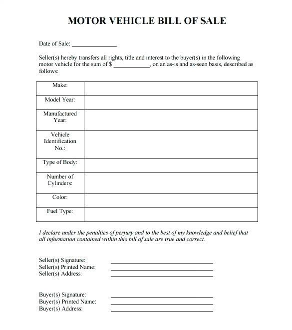 microsoft word bill of sale template