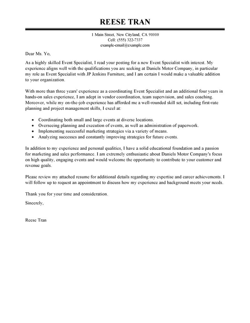 event specialist cover letter sample