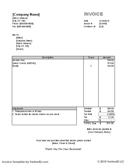 Vertex Invoice Template Free Invoice Template for Excel