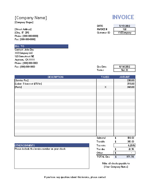 Vertex Invoice Template Vertex42 Invoice assistant Invoice Manager for Excel