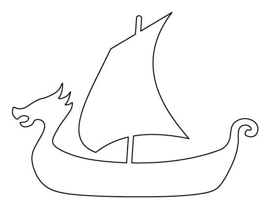 Viking Longship Template Viking Ship Pattern Use the Printable Outline for Crafts