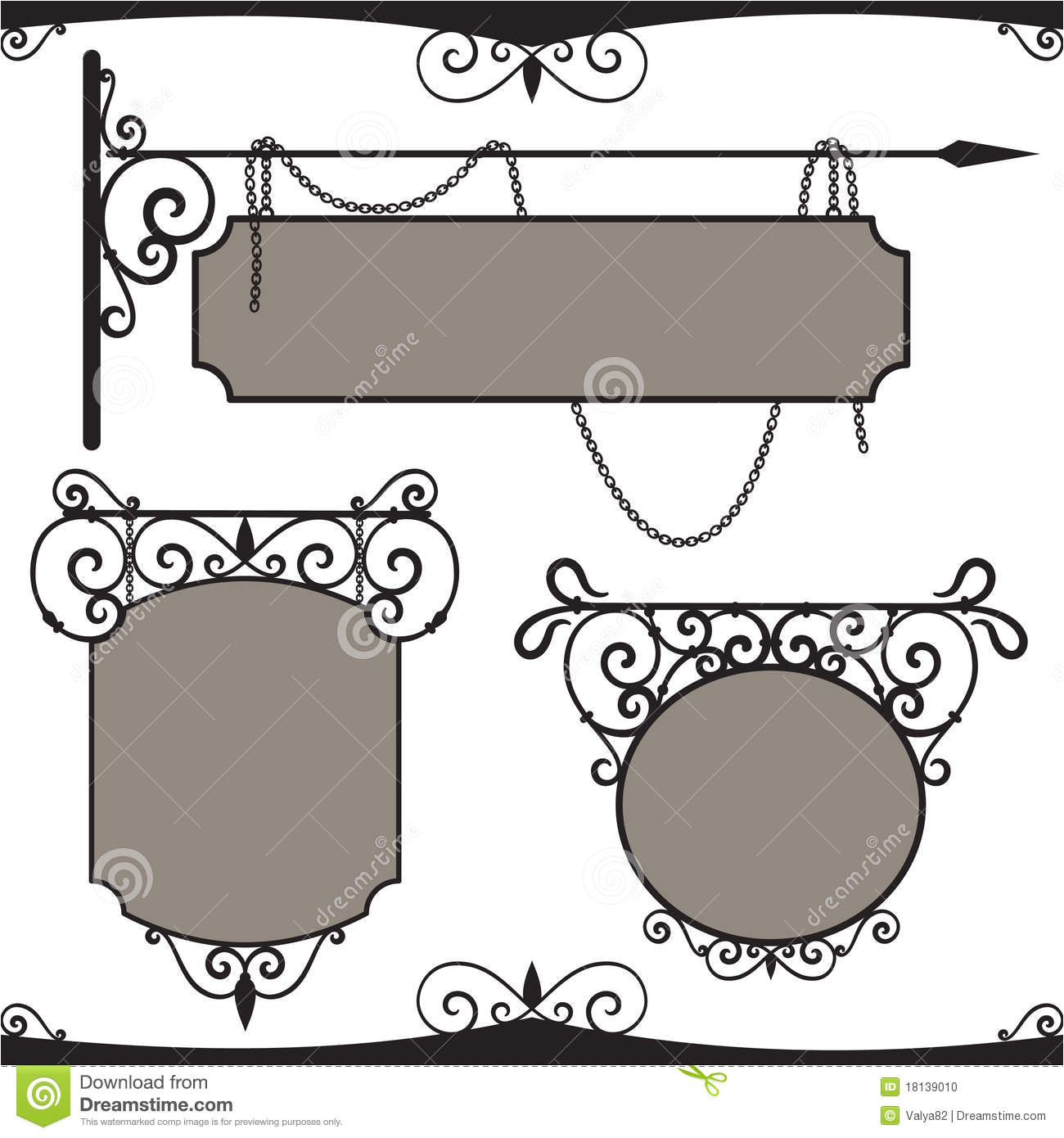 stock photo vintage wrought iron signs image18139010