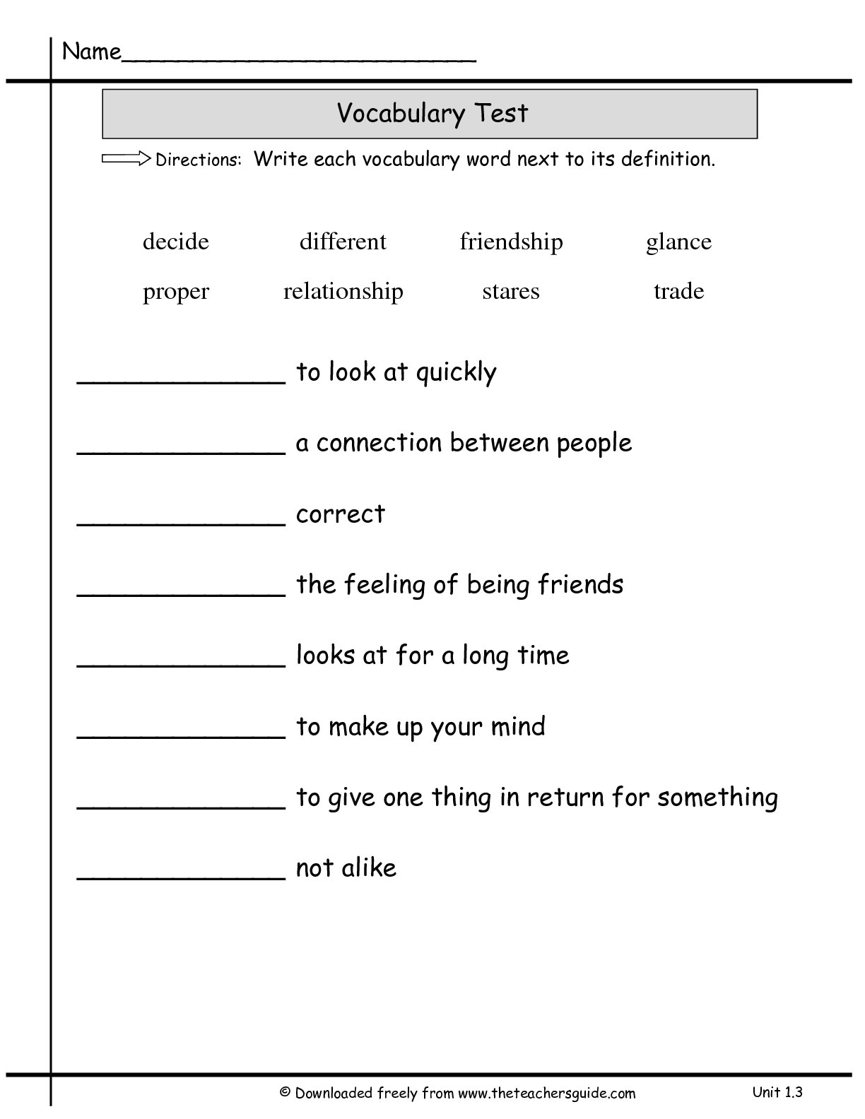 Vocabulary Quiz Template 14 Best Images Of Vocabulary Matching Worksheet Template