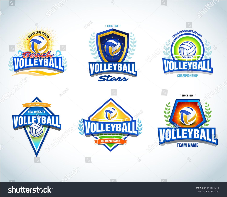 volleyball logo templates set emblem logotype 345681218