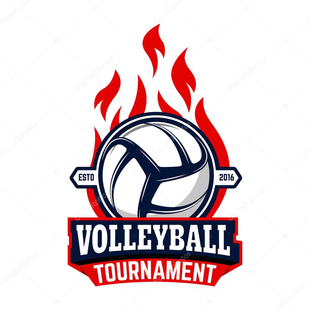 stock illustration volleyball tournament label template with