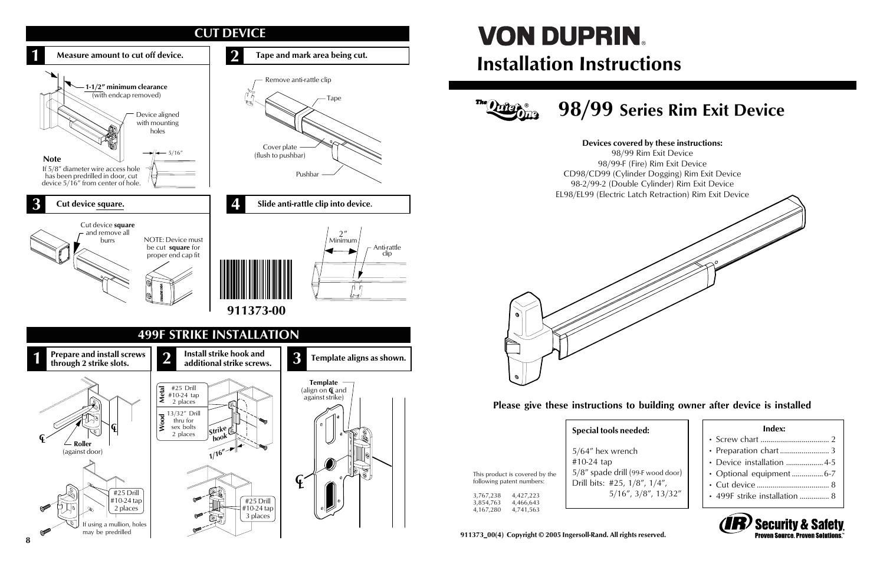factory direct hardware von duprin 98eo von duprin 98eo4 von duprin 98eof
