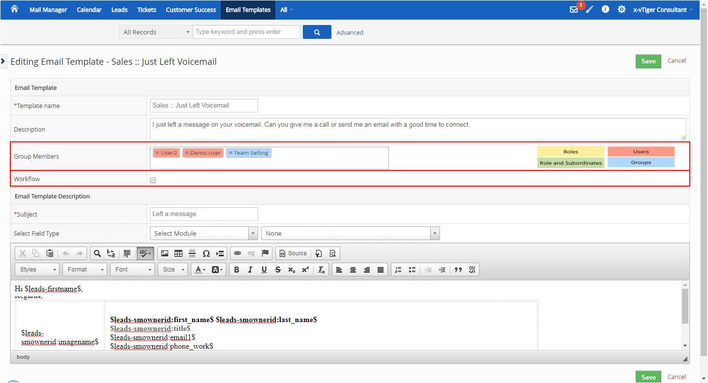 vtiger email templates
