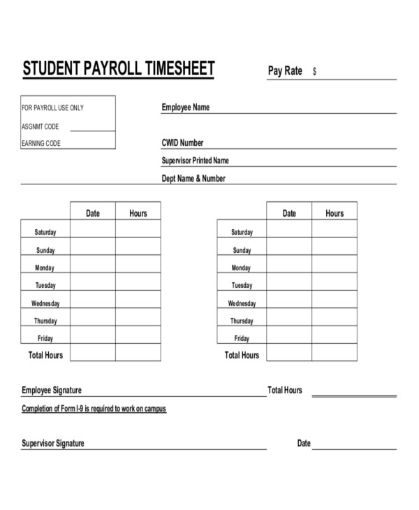 Wages Timesheet Template 16 Timesheet Templates Free Sample Example format