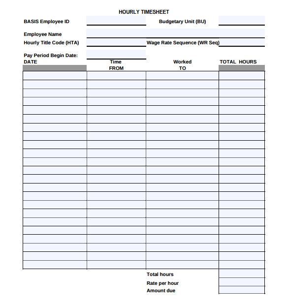 Wages Timesheet Template 18 Hourly Timesheet Templates Free Sample Example