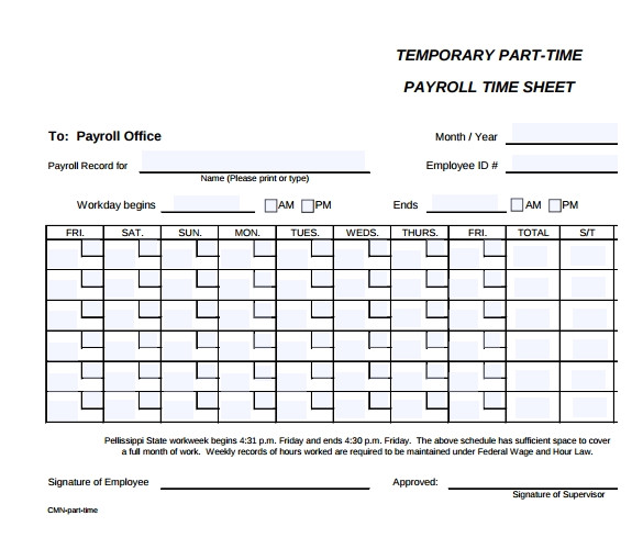 sample payroll timesheet