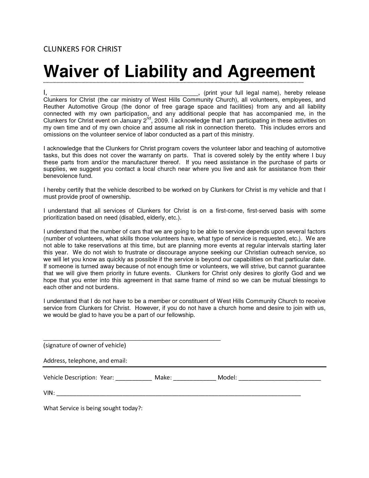 Waiver Of Responsibility Template Liability Waiver Sample Bamboodownunder Com