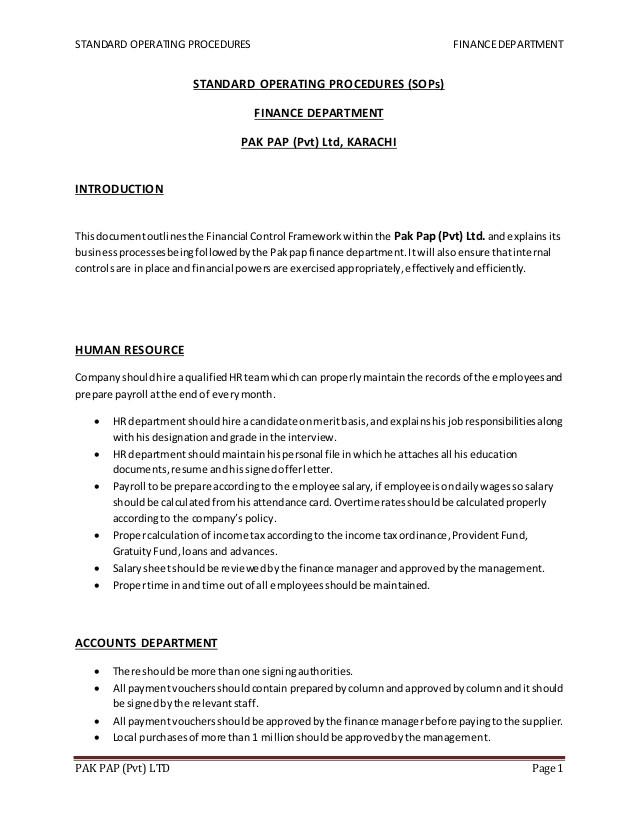 Warehouse Standard Operating Procedures Template Warehouse Standard Operating Procedures