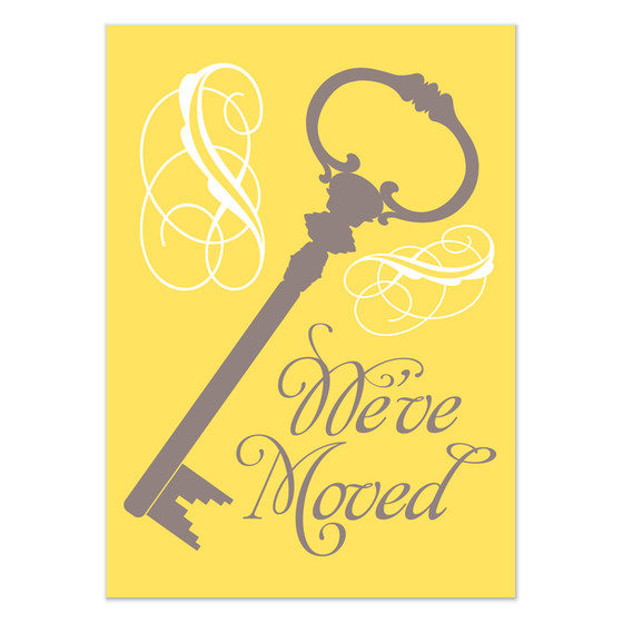 weve moved ornate key in yellow