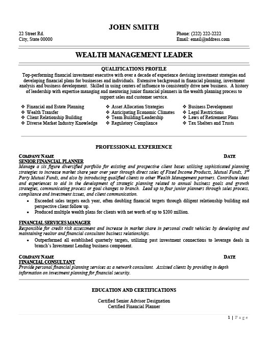 wealth management resume