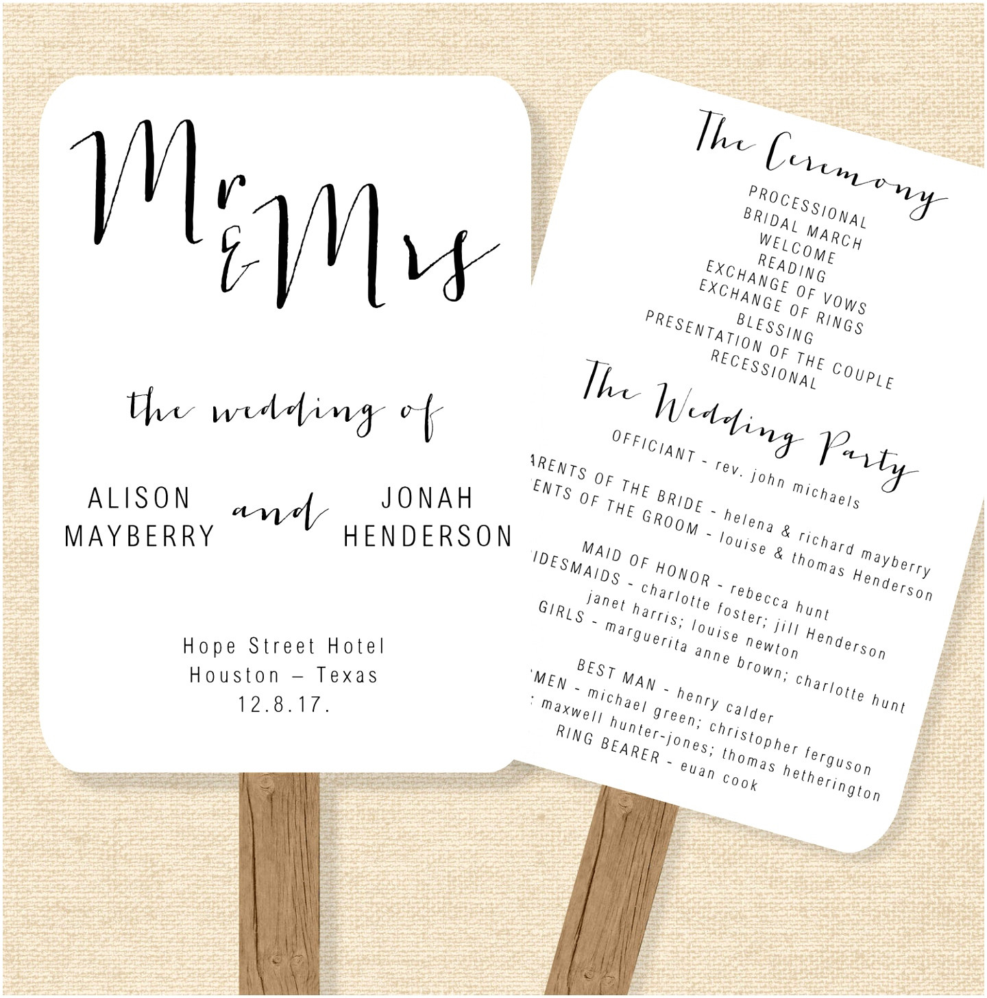 wedding blessing order of service template