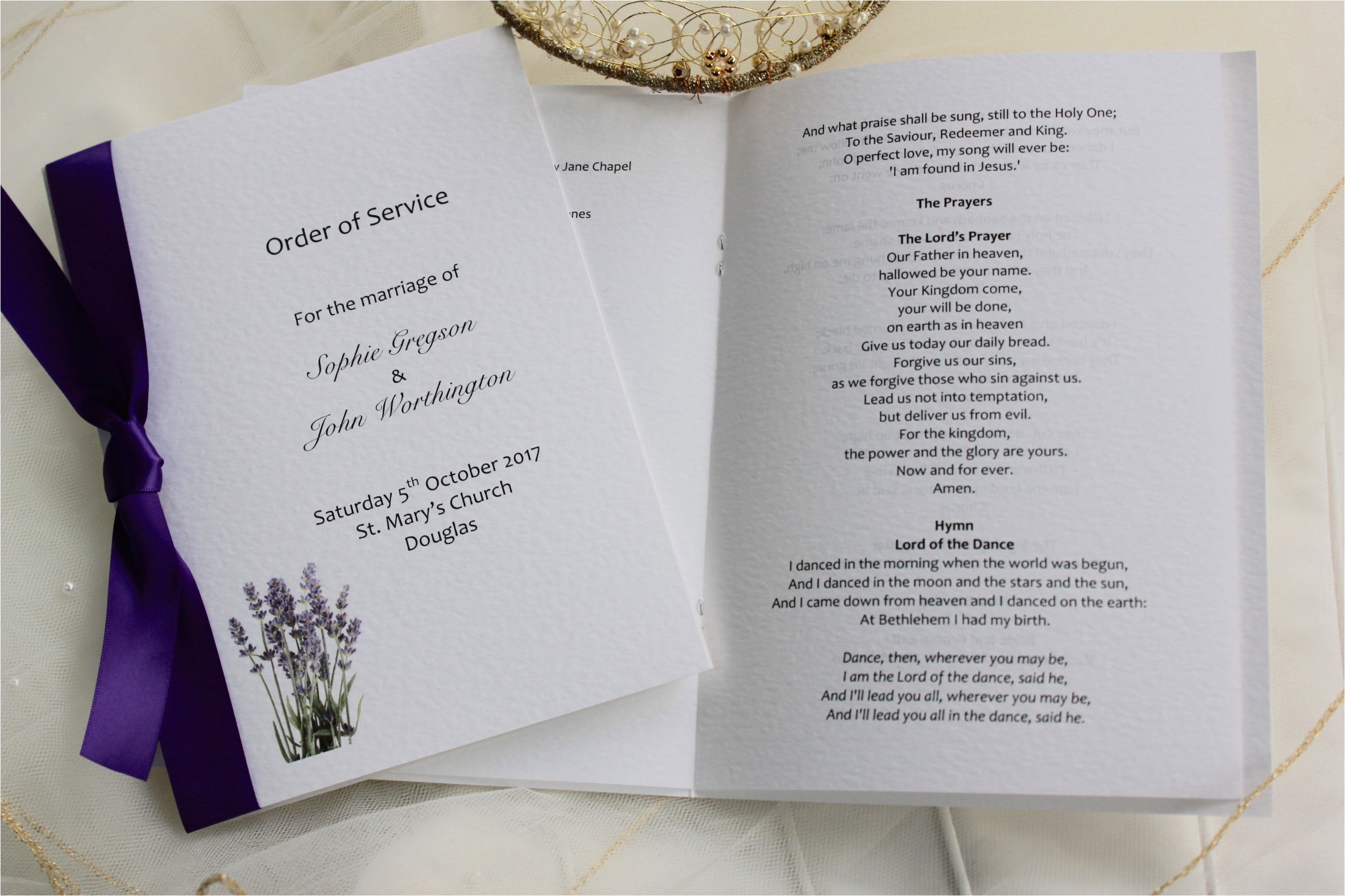 Wedding Blessing order Of Service Template Lavender order Of Service Books