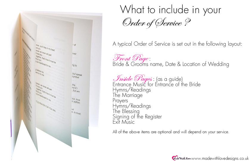 witem order of service booklets