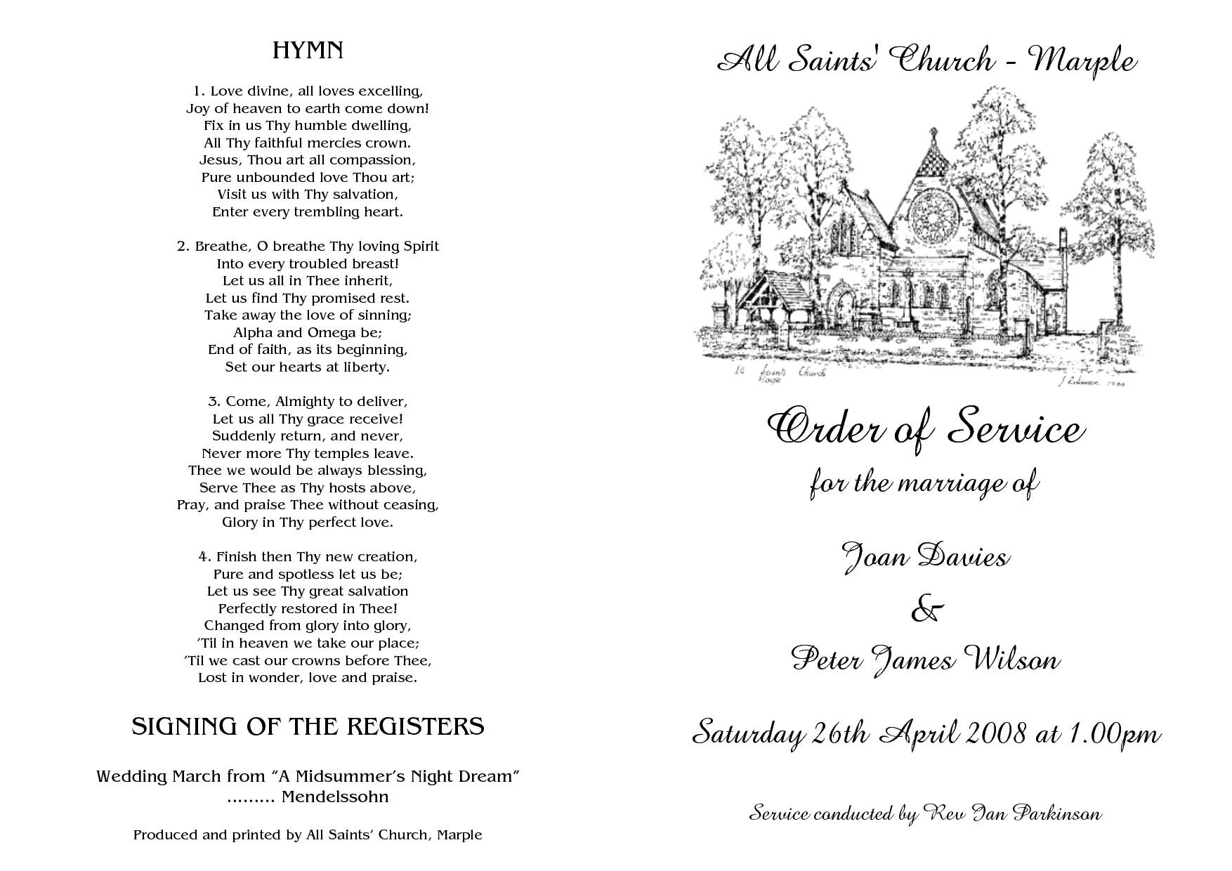 wedding order of service sample
