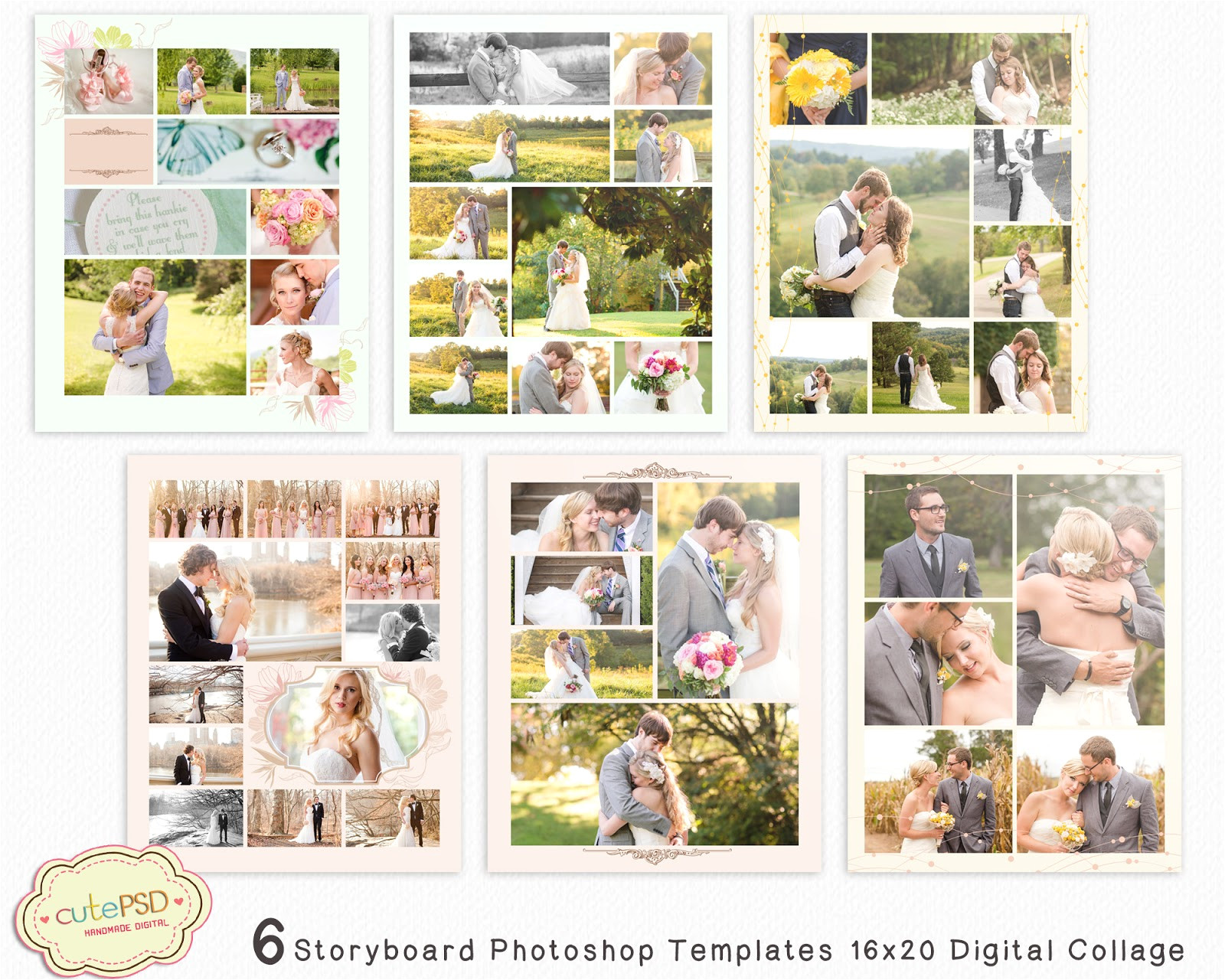 6 storyboard photoshop templates 16x20