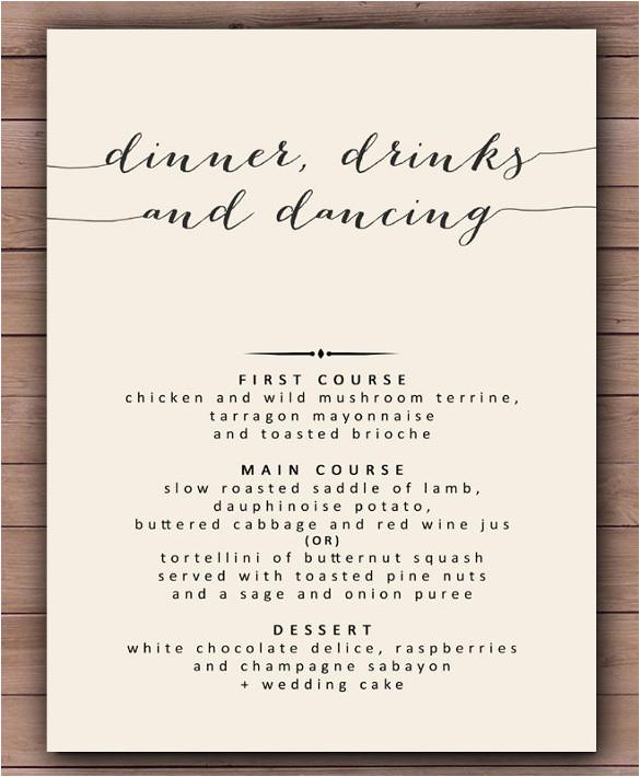 sample dinner menu