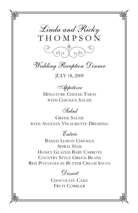 Wedding Menu Samples Templates Wedding Menu Templates Perfect and Easy Menus for Your