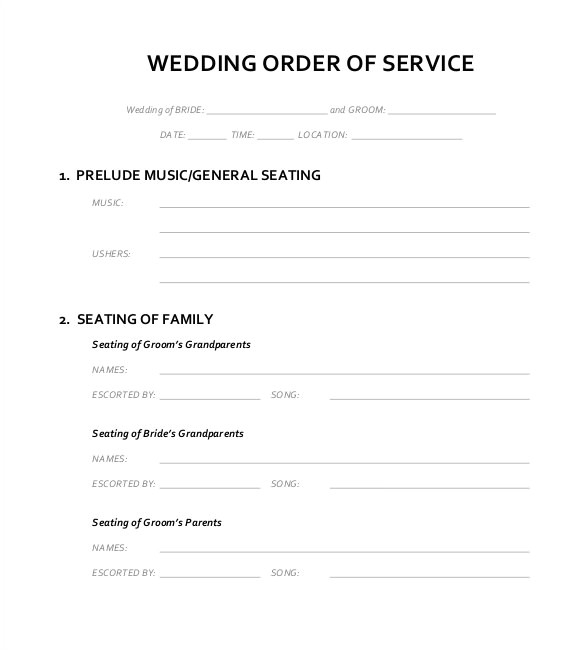 wedding order service template
