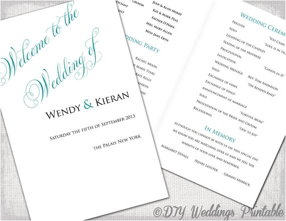 wedding program template teal diy