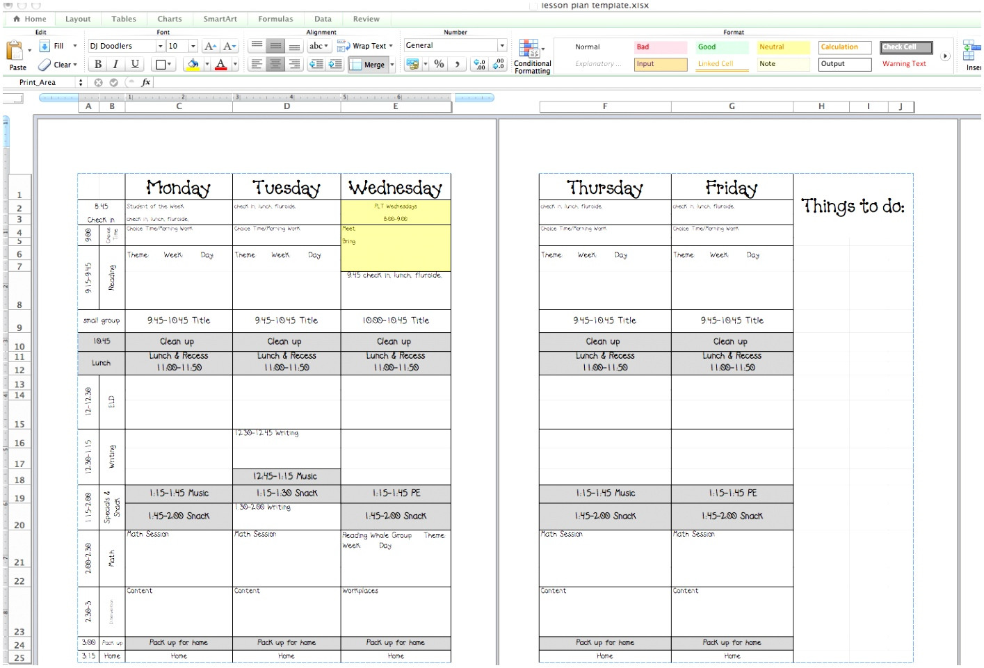 week long lesson plan template