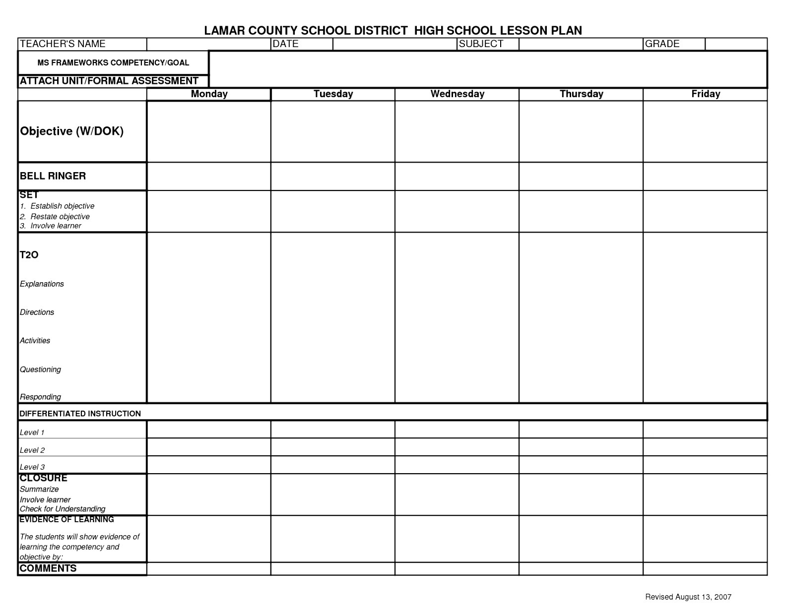 Week Long Lesson Plan Template 6 Week Long Lesson Plan Template Otpey Templatesz234