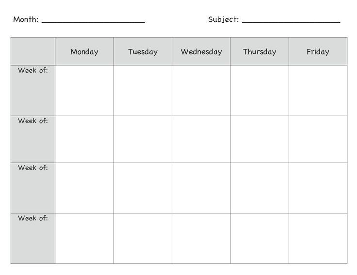 week long lesson plan template