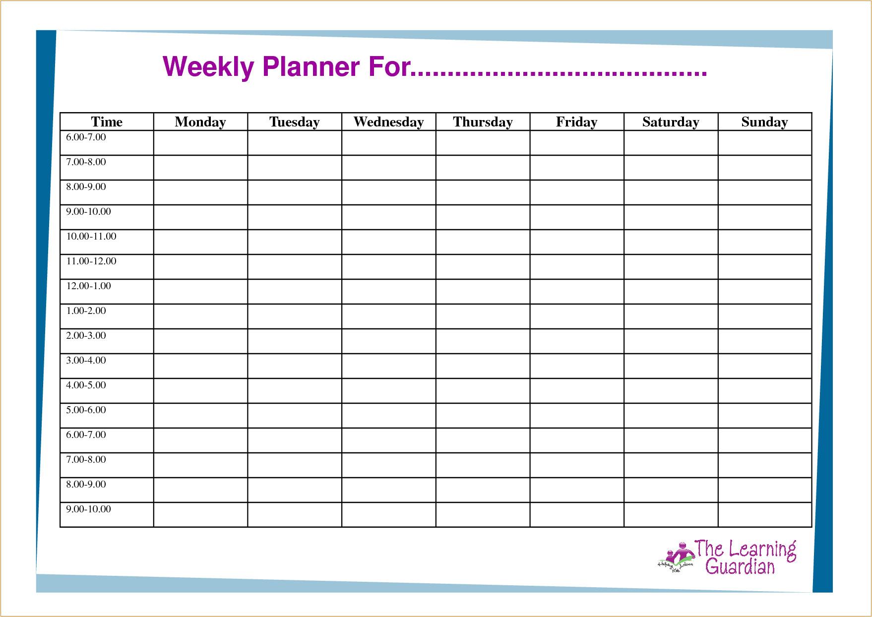 6 week planner template